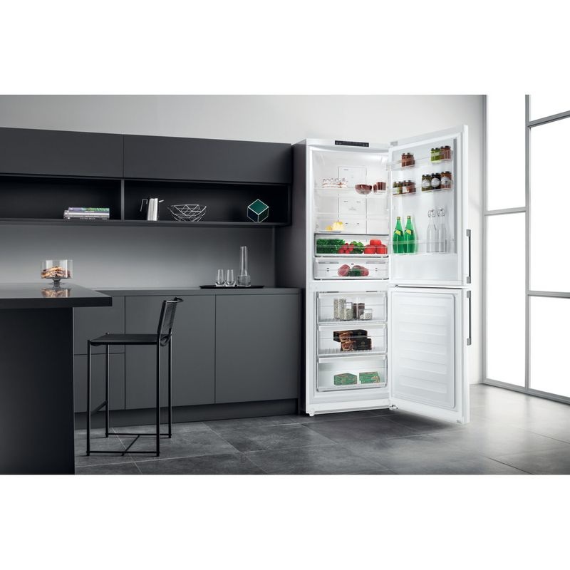 Hotpoint-Fridge-Freezer-Free-standing-NFFUD-190-W-White-2-doors-Lifestyle-perspective-open