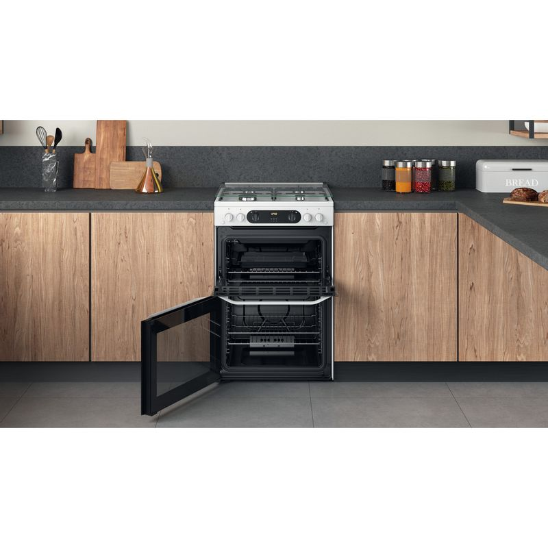 Hotpoint-Double-Cooker-HDM67G0CCW-UK-White-A--Lifestyle-frontal-open