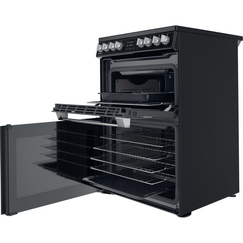 Hotpoint-Double-Cooker-HDT67V8D2CB-UK-Black-A-Perspective-open