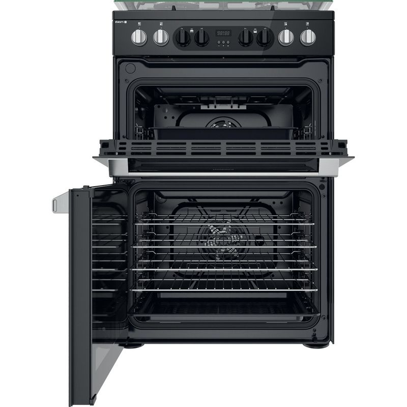 Hotpoint-Double-Cooker-HDM67G8CCB-UK-Black-A-Frontal-open