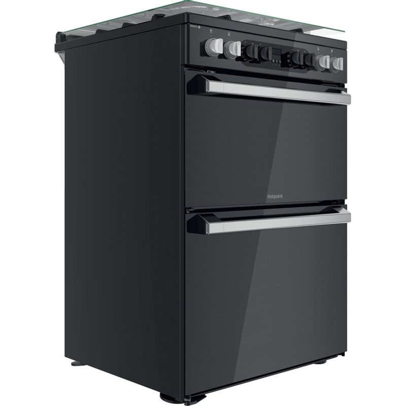 Hotpoint-Double-Cooker-HDM67G8CCB-UK-Black-A-Perspective