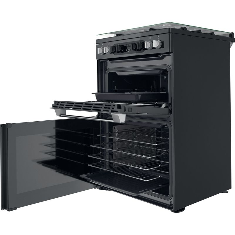 Hotpoint-Double-Cooker-HDM67G8CCB-UK-Black-A-Perspective-open