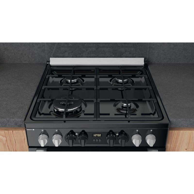 Hotpoint-Double-Cooker-HDM67G8CCB-UK-Black-A-Lifestyle-frontal-top-down