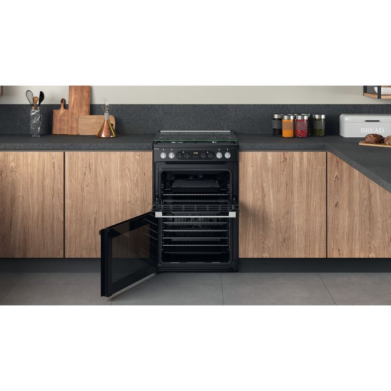 Hotpoint-Double-Cooker-HDM67G8CCB-UK-Black-A-Lifestyle-frontal-open