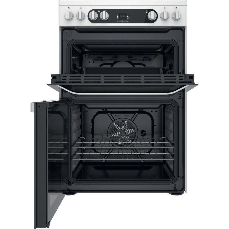 Hotpoint-Double-Cooker-HDM67V9HCW-UK-1-White-A-Frontal-open