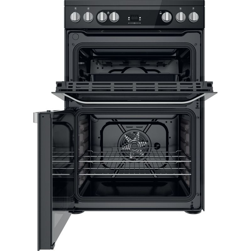 Hotpoint-Double-Cooker-HDM67V9HCB-U-Black-A-Frontal-open