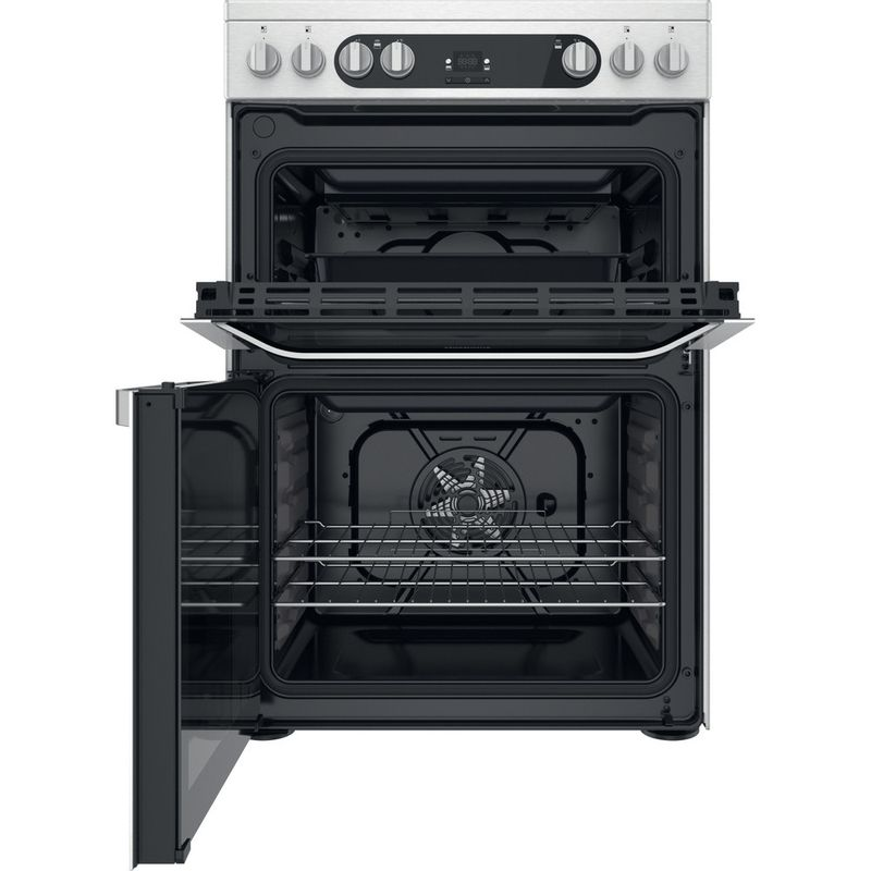 Hotpoint-Double-Cooker-HDM67V9HCX-UK-Inox-A-Frontal-open