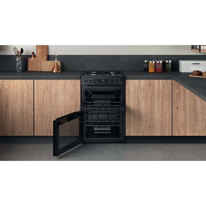 Hotpoint-Double-Cooker-HDM67G0CMB-UK-Black-A--Lifestyle-frontal-open
