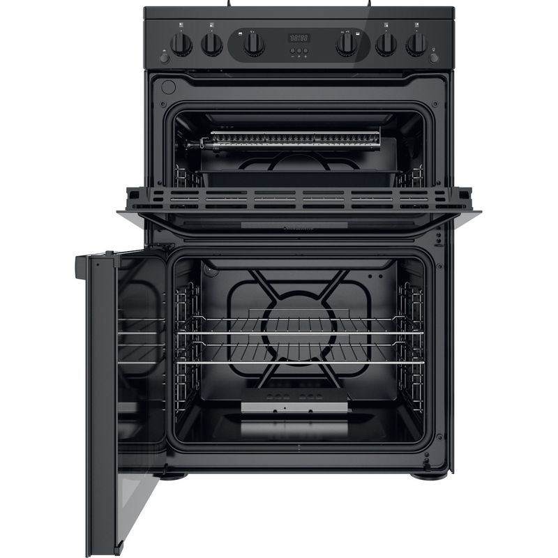 Hotpoint-Double-Cooker-HDM67G0CMB-UK-Black-A--Frontal-open