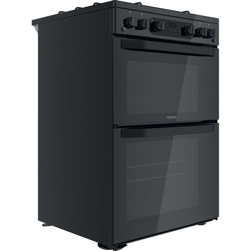 Hotpoint-Double-Cooker-HDM67G0CMB-UK-Black-A--Perspective
