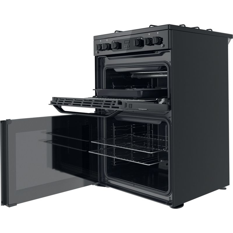 Hotpoint-Double-Cooker-HDM67G0CMB-UK-Black-A--Perspective-open