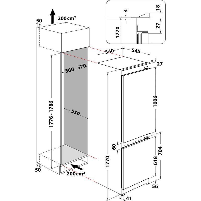 Hotpoint-Fridge-Freezer-Built-in-HMCB-7030-AA-DF-0-White-2-doors-Technical-drawing