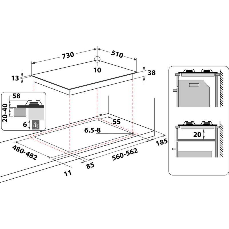Hotpoint-HOB-PPH-75P-DF-IX-UK-Inox-GAS-Technical-drawing