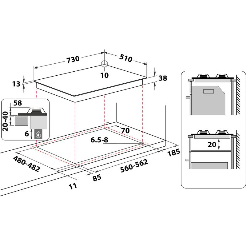 Hotpoint-HOB-PPH-75G-DF-IX-UK-Inox-GAS-Technical-drawing