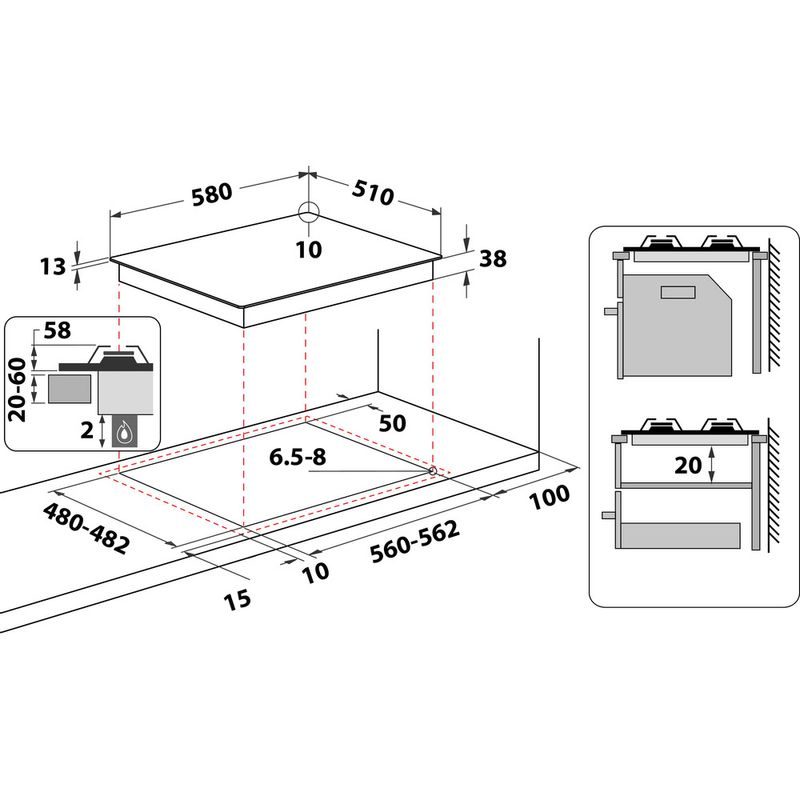 Hotpoint-HOB-PPH--60P-F-NB-Antracite-GAS-Technical-drawing